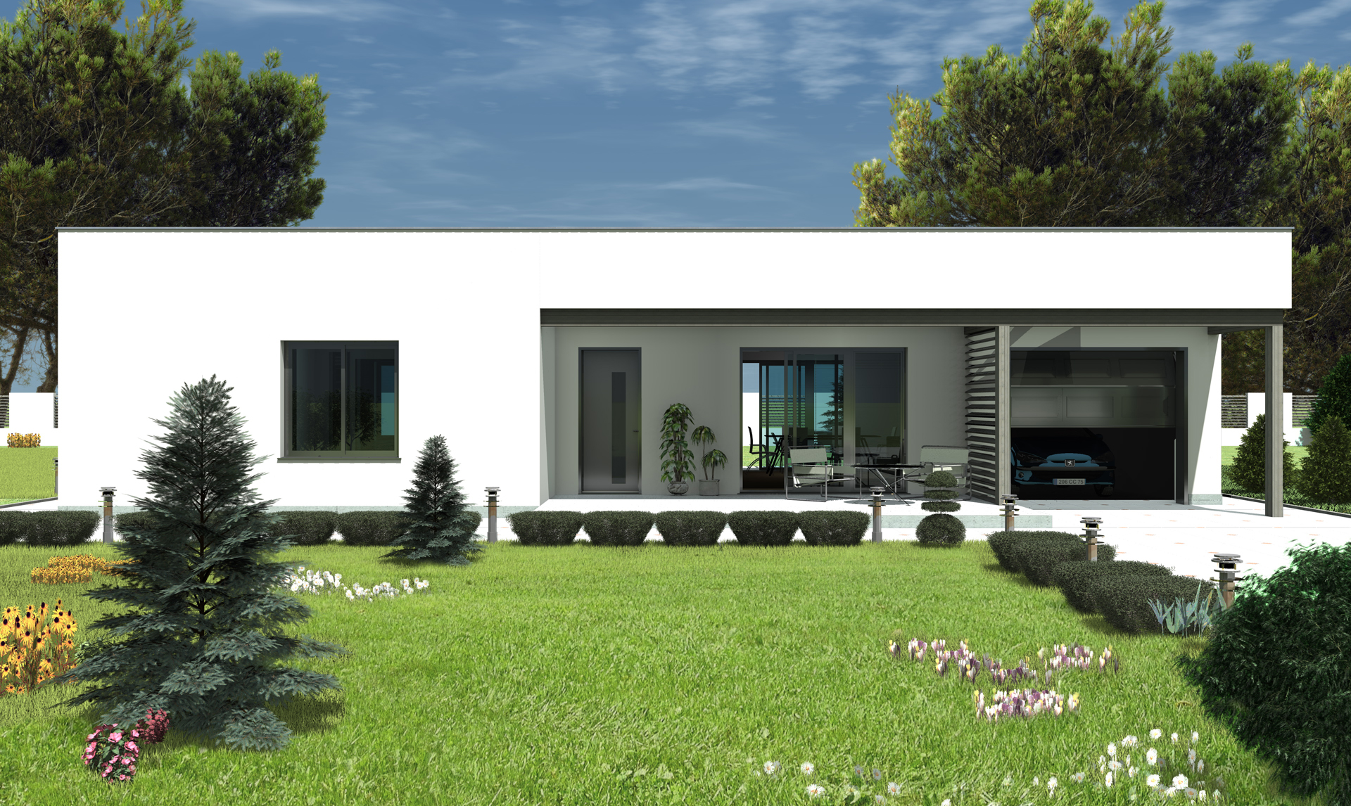 Plan maison contemporaine bc 5 115m2 for Maison contemporaine 140m2