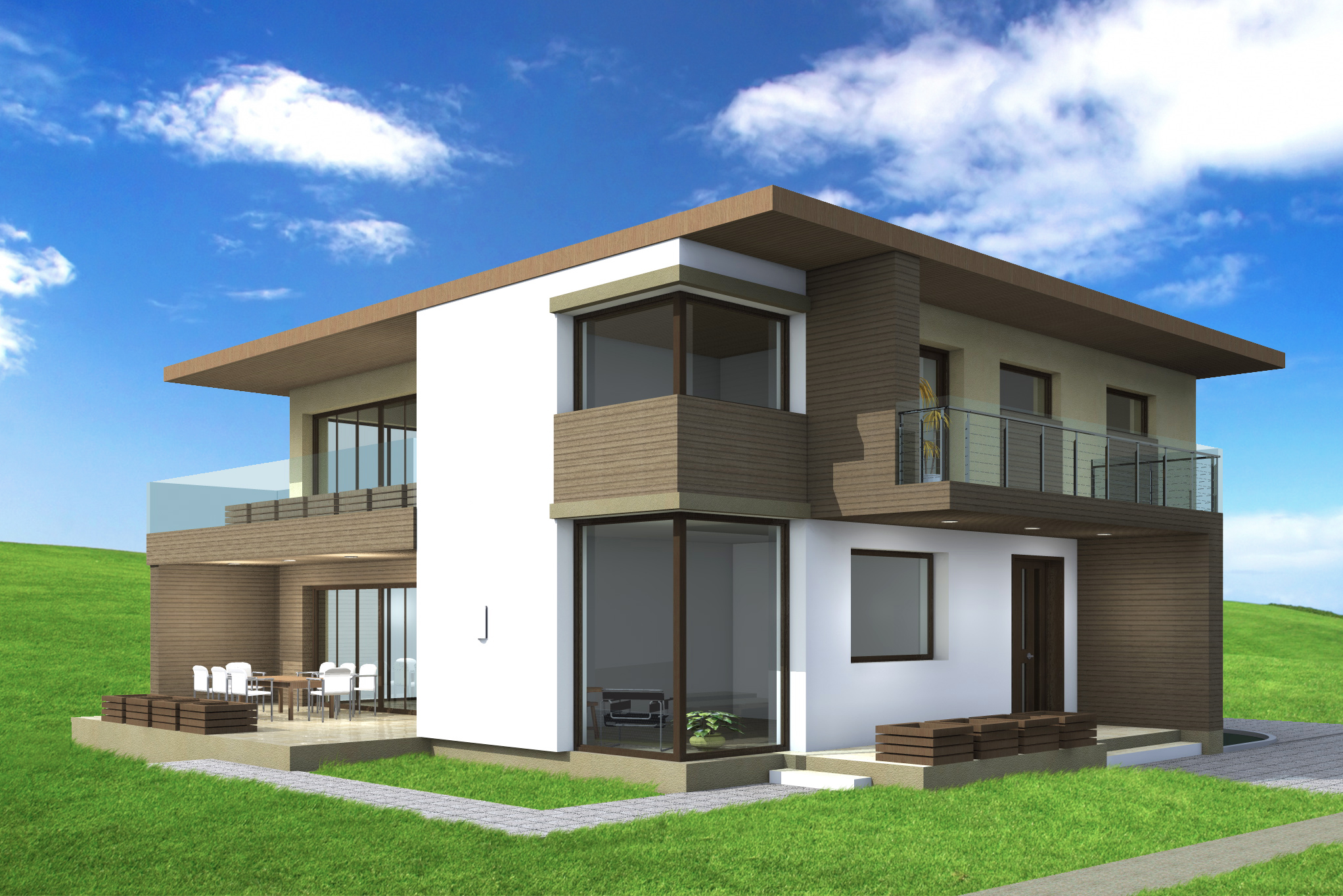 Plan maison contemporaine cj 5 190m2 for Maison contemporaine plan