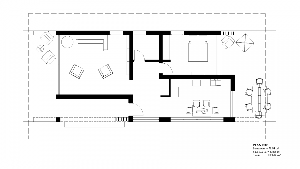 Holiday house plan bc 5 80m2 for Appartement design 80m2